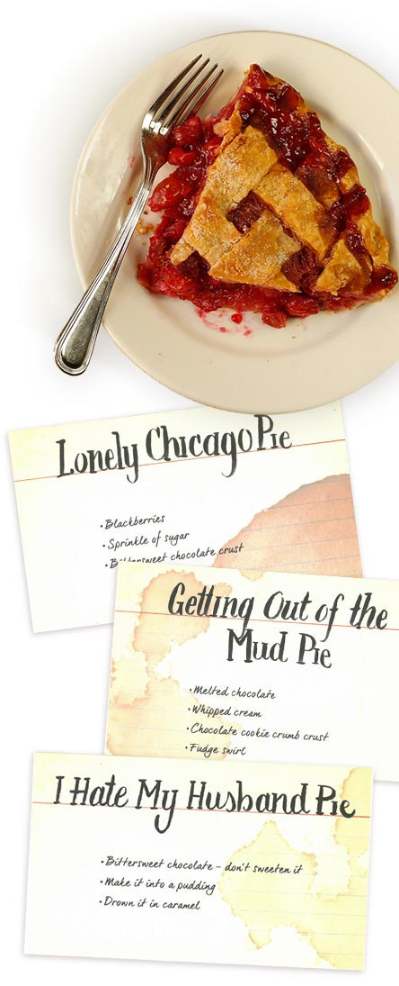 recipie cards and pie